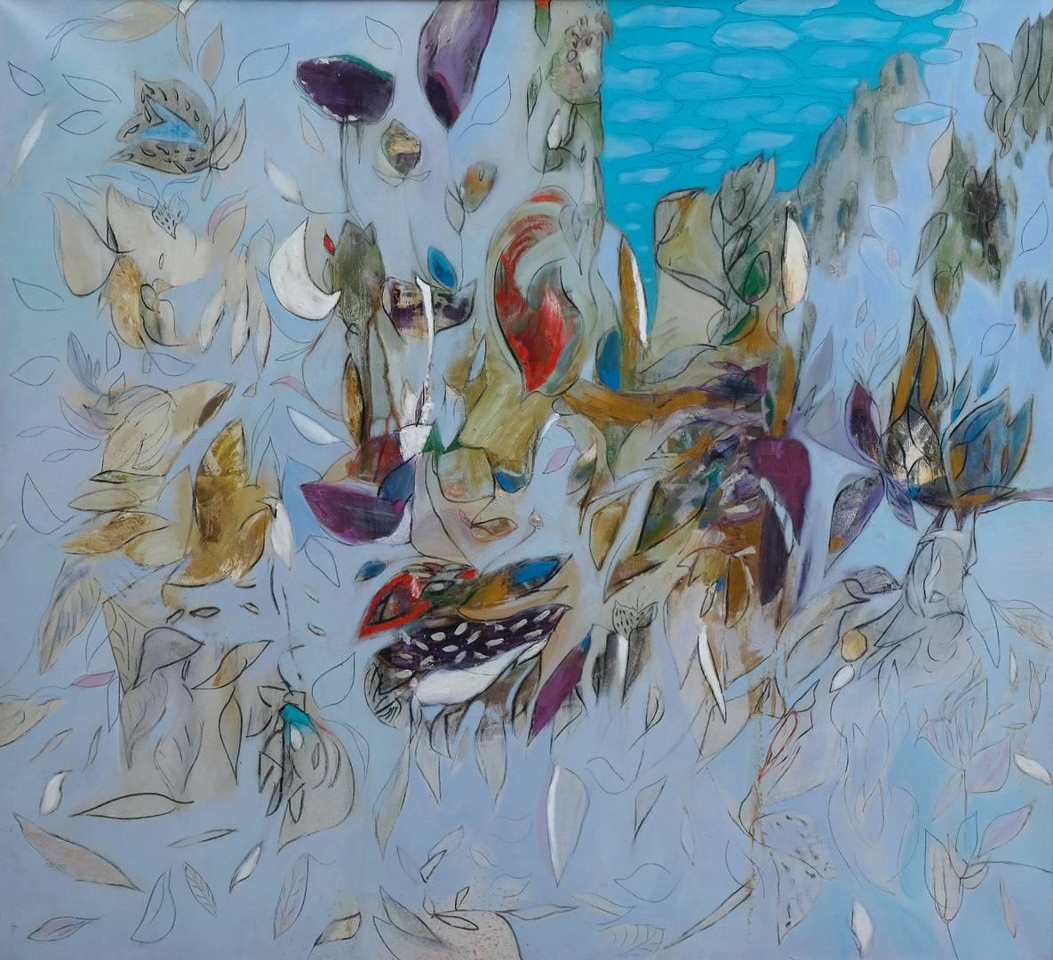 İbrahim Çiftçioğlu, Nakkaşın Çiçekli Bahçe Gezintisi, 150x162 cm, Tuval üzerine yağlı boya, 2004