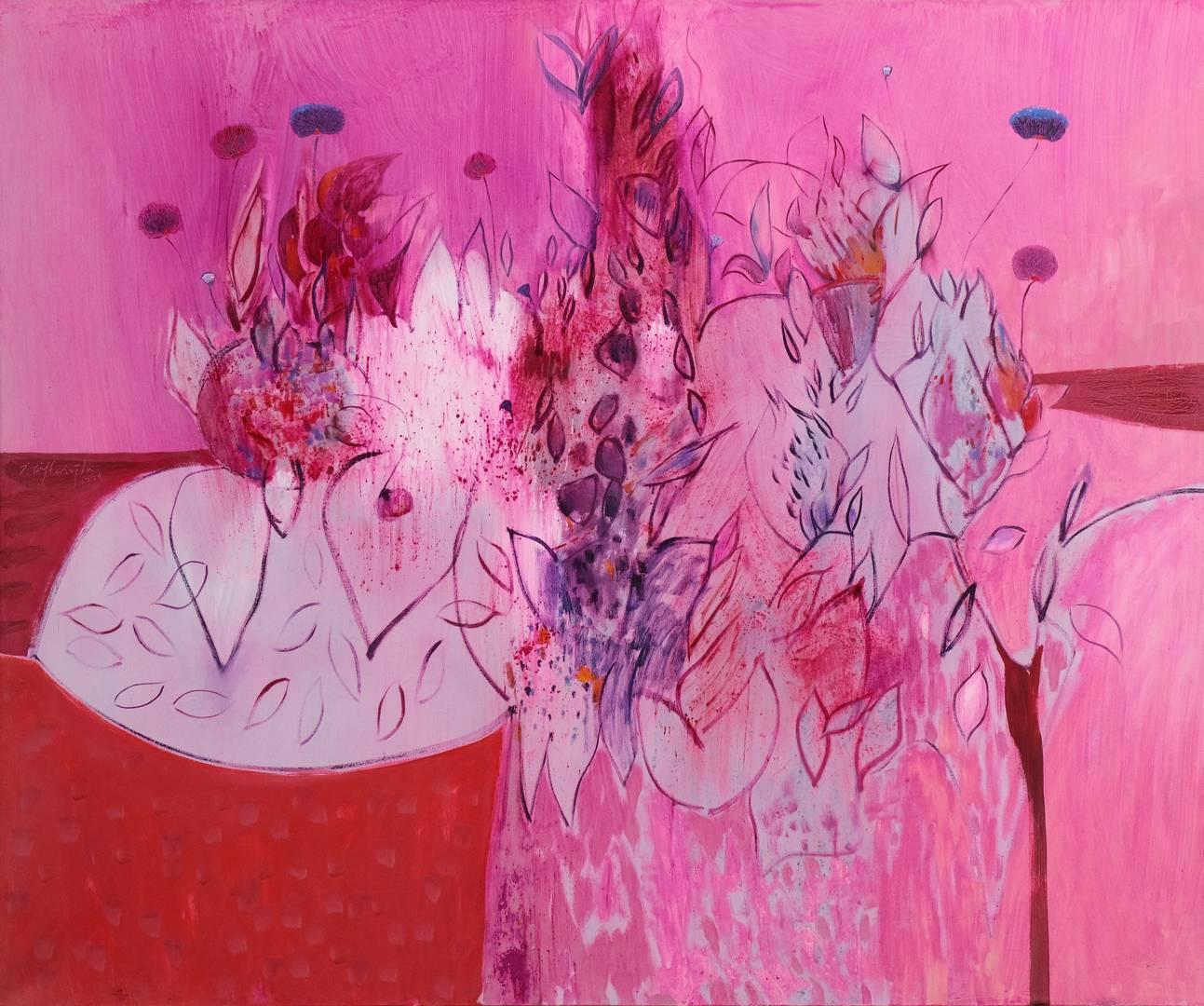 İbrahim Çiftçioğlu, Nakkaşın Çiçekli Bahçe Gezintisi, 150x180 cm, Tuval üzerine yağlı boya, 2004