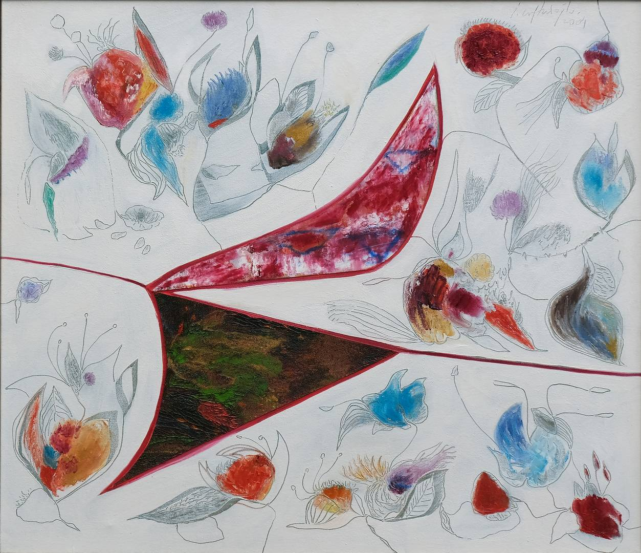 İbrahim Çiftçioğlu, Nakkaşın Çiçekli Bahçe Gezintisi, 65x75 cm, Tuval üzerine yağlı boya, 2004