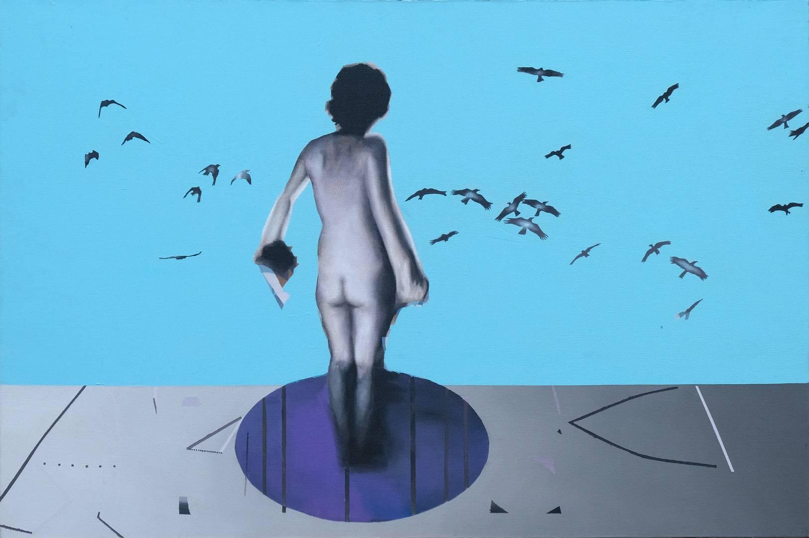 Murat Özbakır, Beden-Mekan, 66,5x100 cm, Tuval üzerine karışık teknik, 2011
