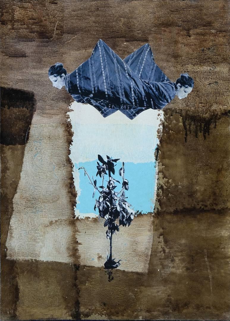 Murat Özbakır, parça-lan-ma-lar, 50x36 cm, Tuval üzerine karışık teknik, 2009