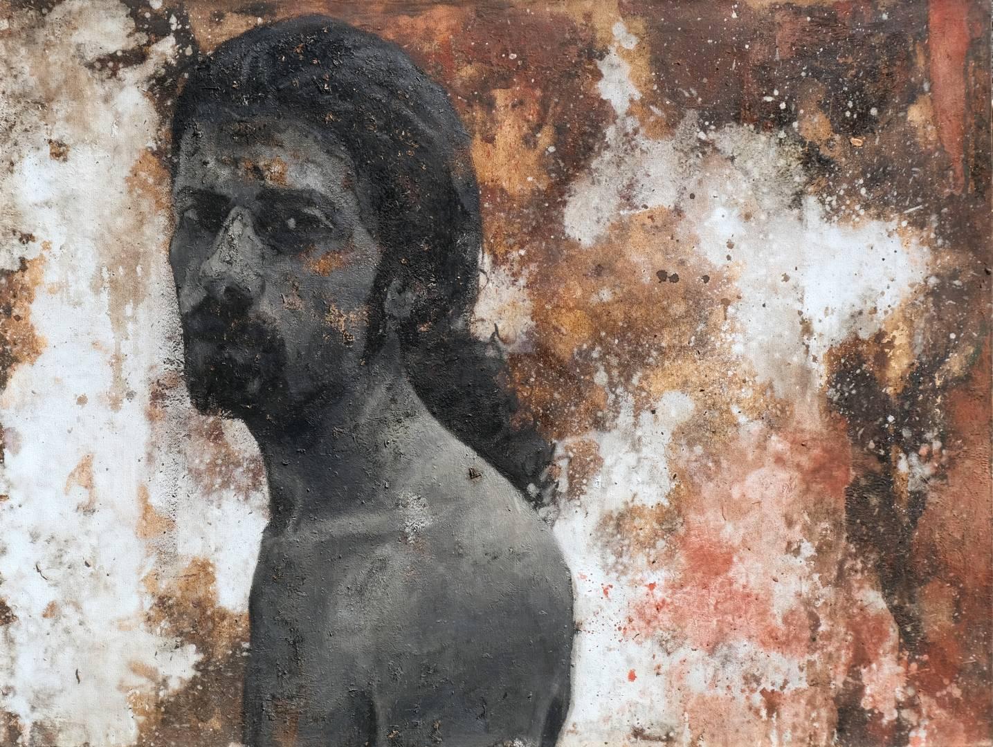 Mustafa Özbakır, Otoportre, 80x106 cm Tuval üzerine yağlıboya