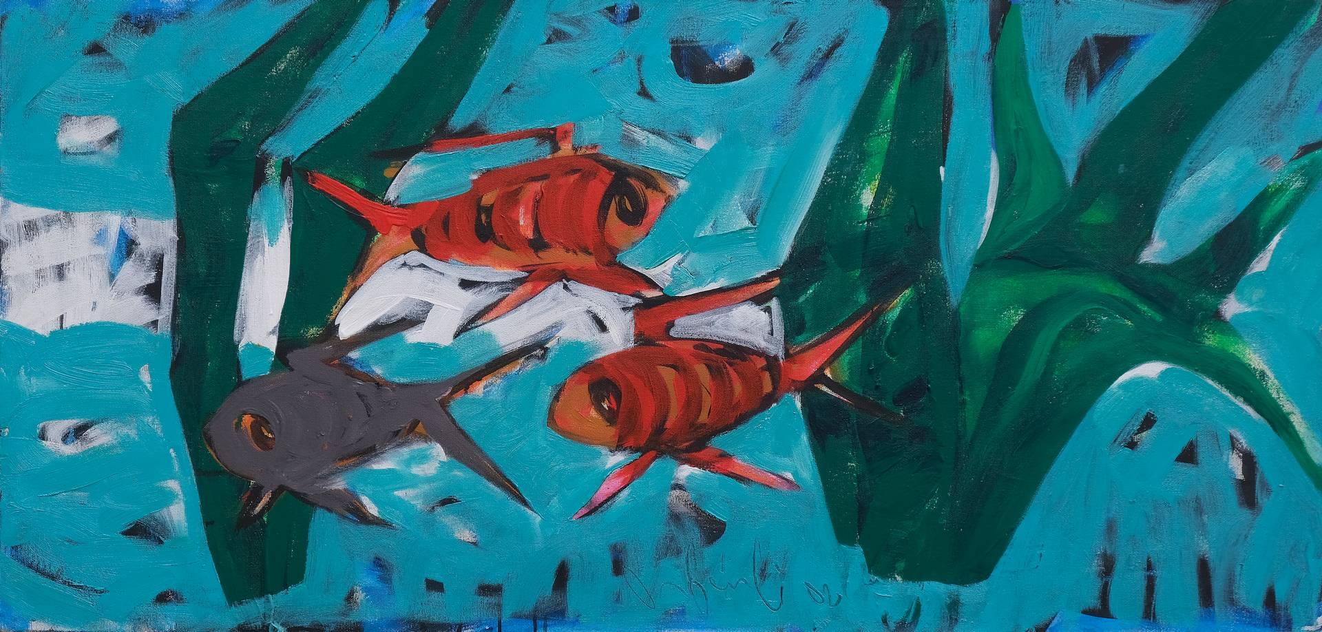 Orhan Benli, Akvaryum Keyfi, 70x145 cm, Tuval üzerine yağlı boya, 2002