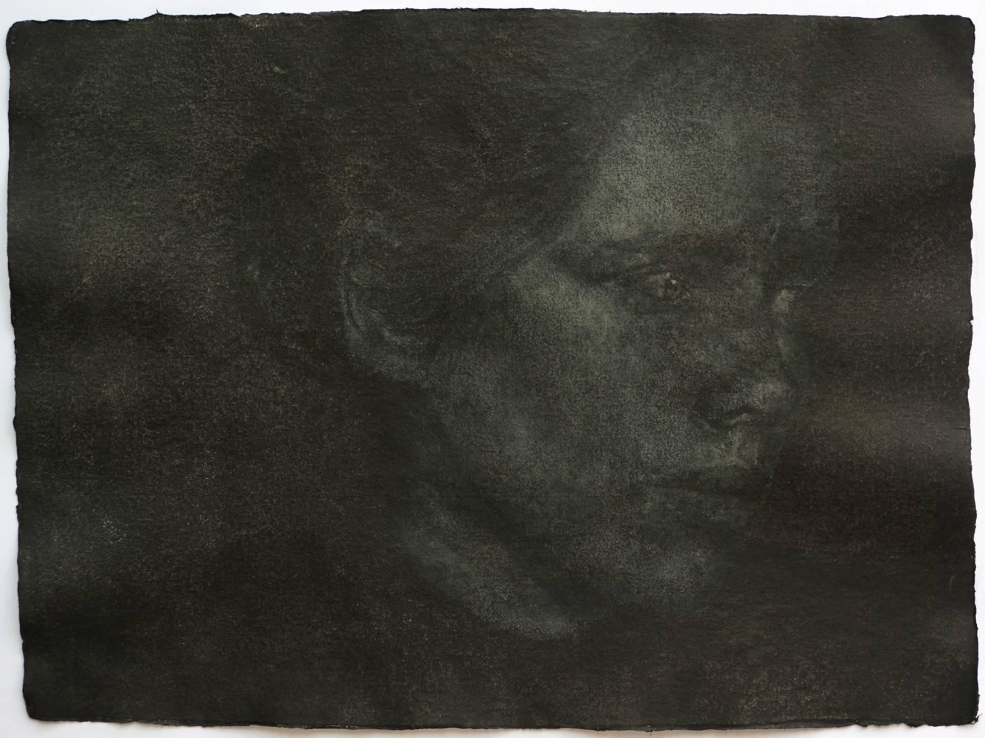 Vargtimmen no.6, 56x76 cm, Oil on handmade paper, 2015